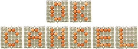 OK CANCEL word from eggs in paper tray. For button or nutrition concept Stock Image