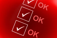 OK checklist. Checked security checklist of OK boxes on a gradient red background Royalty Free Stock Photos