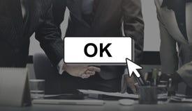Ok Click Cursor Enter Computer Concept. Business People Discussing Click Cursor Enter Computer stock photography