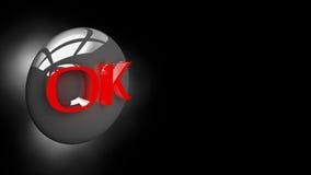 OK de bouton dans l'illustration 3D Photographie stock libre de droits