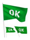 OK - drapeaux verts de vecteur Photographie stock