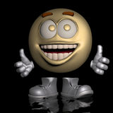 OK. An emoticon in his wacky pose and OK expression Royalty Free Stock Photos