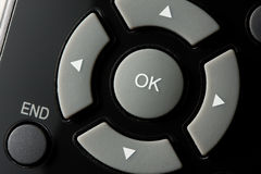 OK, end and arrow keys. Macro of remote control detail Stock Images