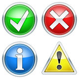 OK, Error, Info and Warning Icons Royalty Free Stock Photos