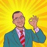 Ok gest Blå social medelhand från bärbar datorskärmen ok afrikansk affärsman för popkonst vektor illustrationer