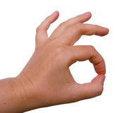 OK gesture. Hand gesture OK on white background : you can put any object inside Royalty Free Stock Images