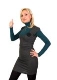 Ok gesture. Blonde shows gesture thumbs up isolated on white background Royalty Free Stock Photography