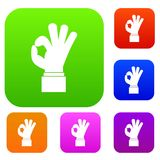 Ok gesture set collection. Ok gesture set icon in different colors isolated vector illustration. Premium collection Stock Images