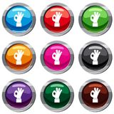 Ok gesture set 9 collection. Ok gesture set icon isolated on white. 9 icon collection vector illustration Stock Photography