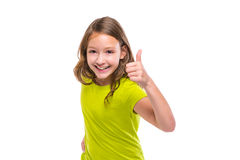 Ok gesture thumb up gunny happy kid girl on white. Background Royalty Free Stock Image