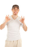 Ok gesturing by worker Stock Images