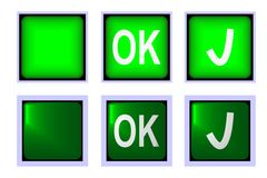 Ok green button Stock Photo