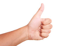 Ok hand. Hand expressing positivity on white background. thumbs up stock image