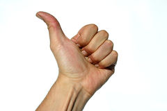 Ok hand. Close-up of male hand doing the thumbs up sign stock images