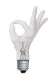 OK hand gesture lamp bulb Stock Image
