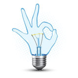Ok hand lamp bulb Stock Images