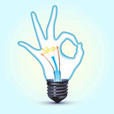 Ok hand light bulb Stock Images