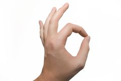 OK hand sign. Caucasian male hand showing OK sign Royalty Free Stock Photography