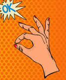 OK Hand sign. Pop Art illustration. OK Hand sign Stock Photography