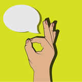 Ok hand sign cartoon comics style, okay gesture with think bubble for your text, pop art illustration. Royalty Free Stock Image