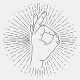 OK hand sign. Okay gesture. Hand-drawing illustration with hipster sunburst, vector. OK hand sign. Okay gesture. Hand-drawing illustration with hipster sunburst stock illustration