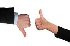 Ok ,hand with thumb up and thumb down. Business hand with thumb up and thumb down Stock Photography