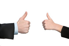 Ok ,hand with thumb up, two hands Royalty Free Stock Images