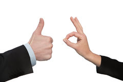Ok ,hand with thumb up, two hands Stock Photography