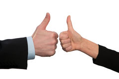 Ok ,hand with thumb up, two hands Stock Photos