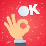 Ok hand vector illustration Royalty Free Stock Photos