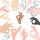 Ok hands success gesture okey yes agreement signal business human agree best approval vector. Stock Photos