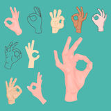 Ok hands success gesture okey yes agreement signal business human agree best approval vector. Royalty Free Stock Photos
