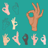 Ok hands success gesture okey yes agreement signal business human agree best approval vector. Ok hands success gesture and okey yes agreement signal business vector illustration