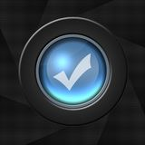 OK icon. Blue icon with a tick on aperture style background royalty free illustration