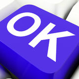 Ok Key Shows Correct Or Passed Royalty Free Stock Photography