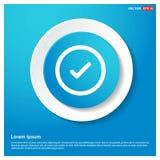 Ok knapp för klistermärke för rengöringsduk för blått för fästingsymbolsabstrakt begrepp vektor illustrationer