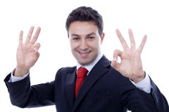 Ok man. Man with ok expression white isolate portrait Stock Images