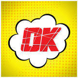 Ok message design in pop-art style. Royalty Free Stock Photography