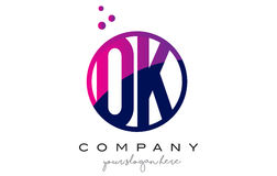 OK O K Circle Letter Logo Design with Purple Dots Bubbles Royalty Free Stock Images