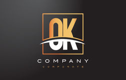 OK O K Golden Letter Logo Design with Gold Square and Swoosh. Stock Photography