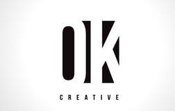 OK O K White Letter Logo Design with Black Square. Stock Images