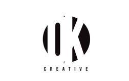 OK O K White Letter Logo Design with Circle Background. Royalty Free Stock Photos