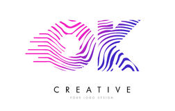 OK O K Zebra Lines Letter Logo Design with Magenta Colors Royalty Free Stock Images