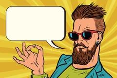 OK okay gesture hipster. Pop art retro vector illustration Stock Image