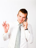 Ok Phone-Call. Young Corporate Man Having An Afirmative Attitude On The Phone Royalty Free Stock Images