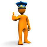 OK Police. Orange cartoon character with police cap and the symbol for OK Stock Photo