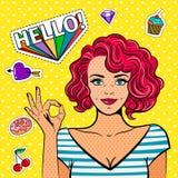 Ok pop art girl. Fine art fashion women, vintage popart lady face with okay hand sign. Vector illustration Stock Photo