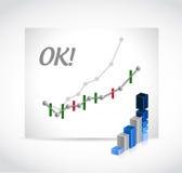 Ok profits graph illustration design Stock Photography
