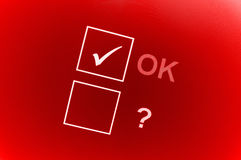 OK and question check boxes Royalty Free Stock Images