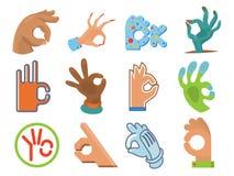 Ok ręki istoty ludzkiej znaka okey zgody sygnałowego wektoru ilustracja tak Fotografia Royalty Free